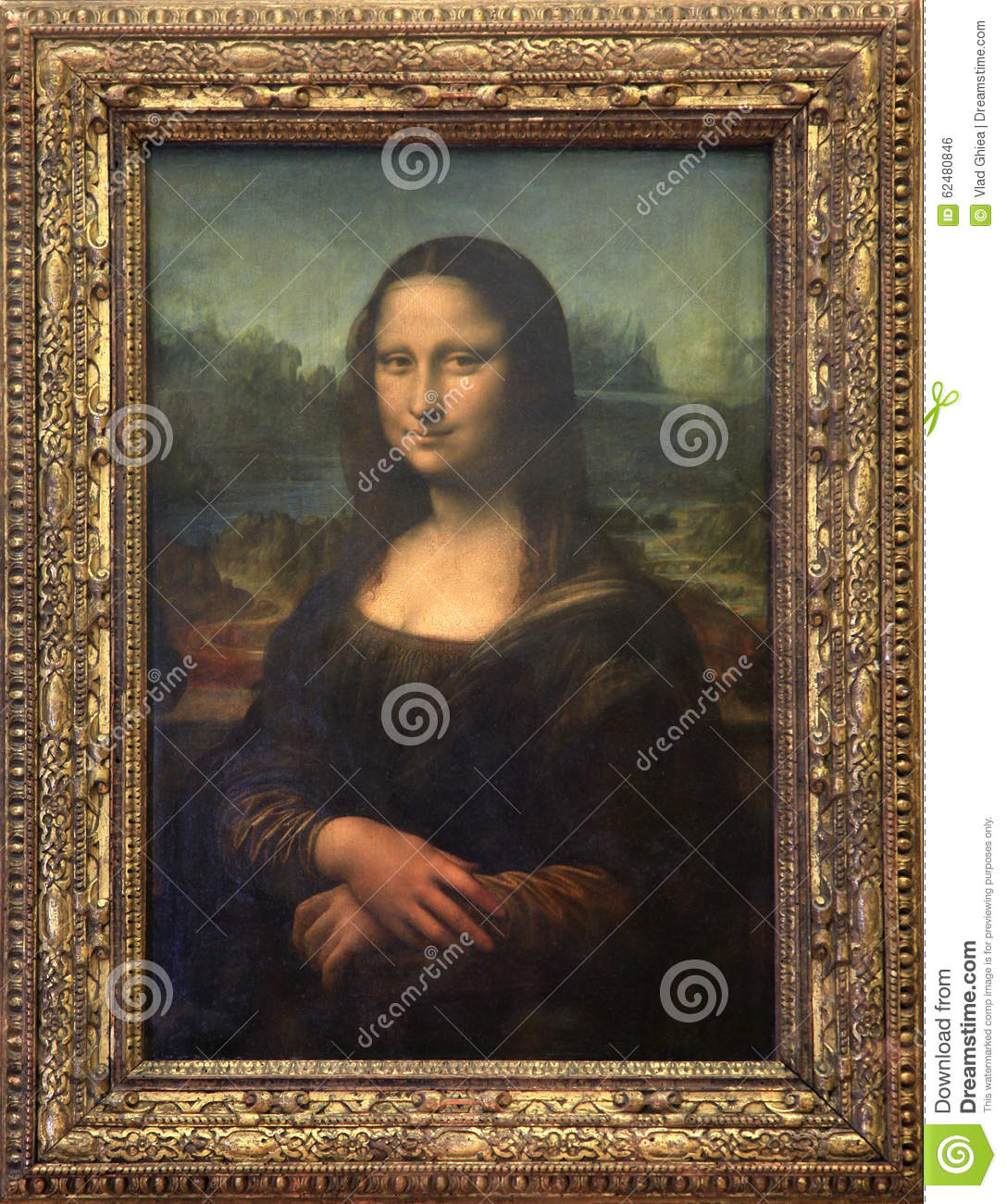 Mona Lisa Canvas At Louvre Museum In Paris Editorial Photo ...