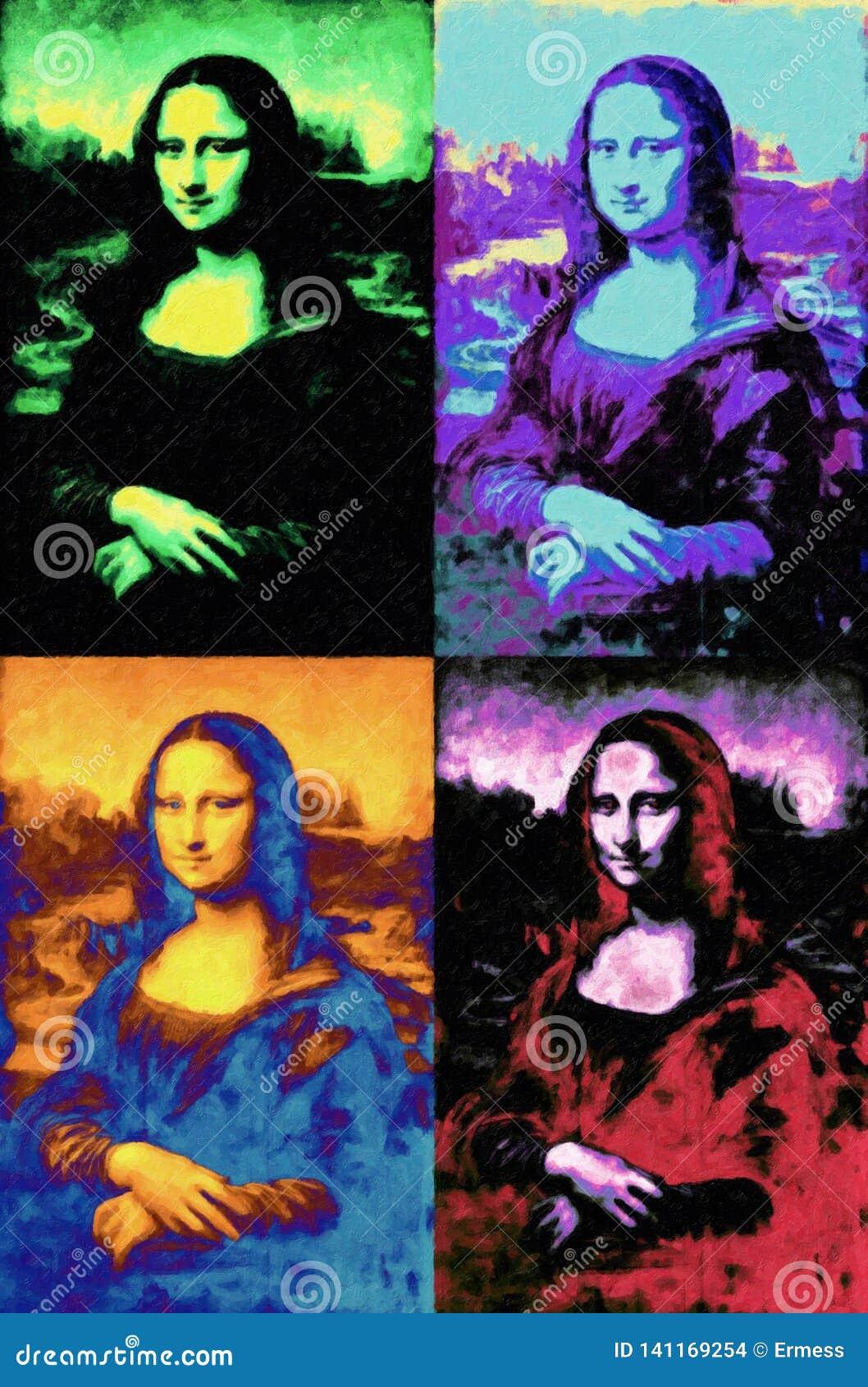 Mona Lisa Leonardo Da Vinci obraz w wystrzał sztuki stylu