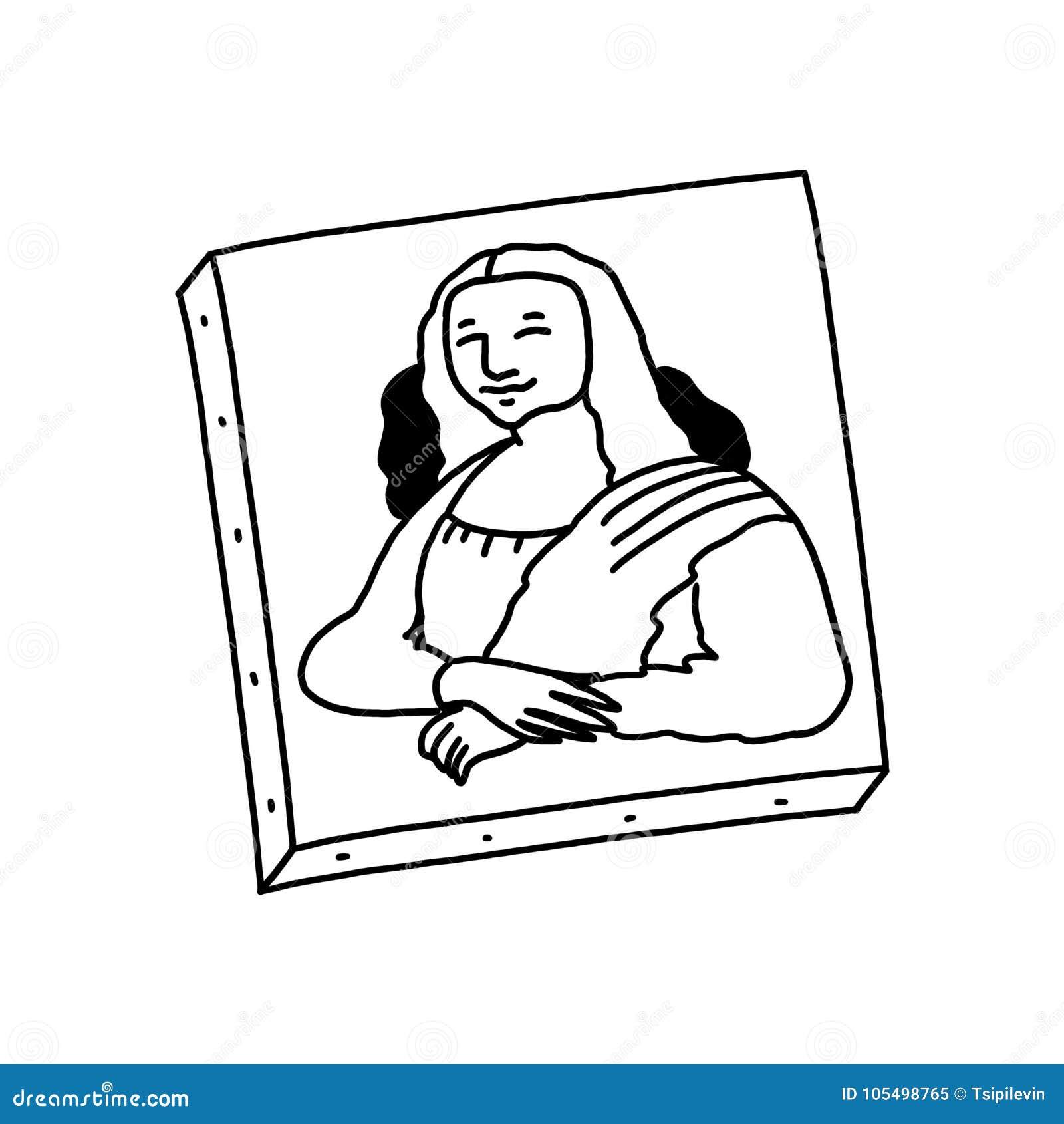 Mona Lisa maluje czarny i biały ilustrację
