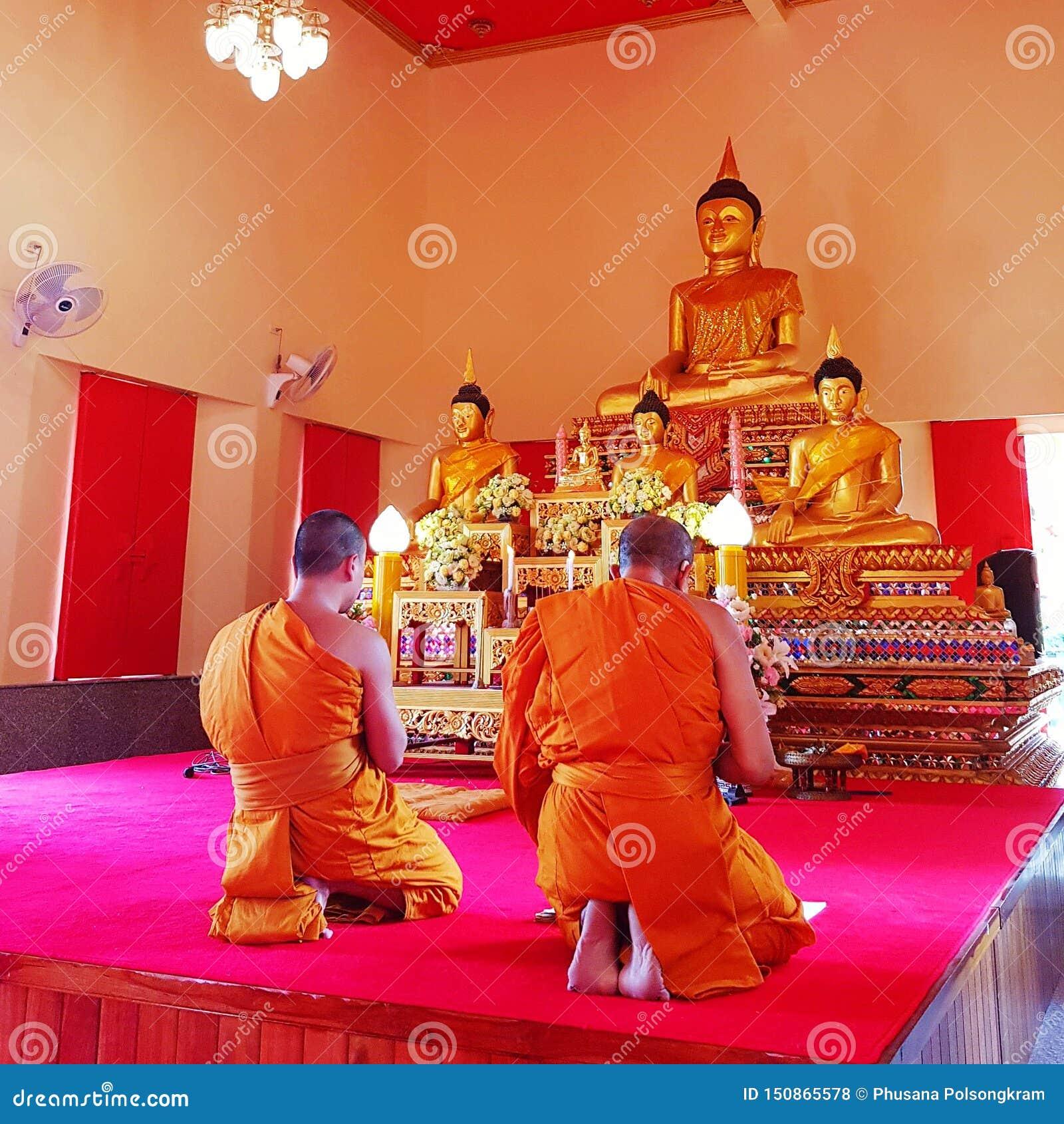 Monaci che pregano in tempio buddista