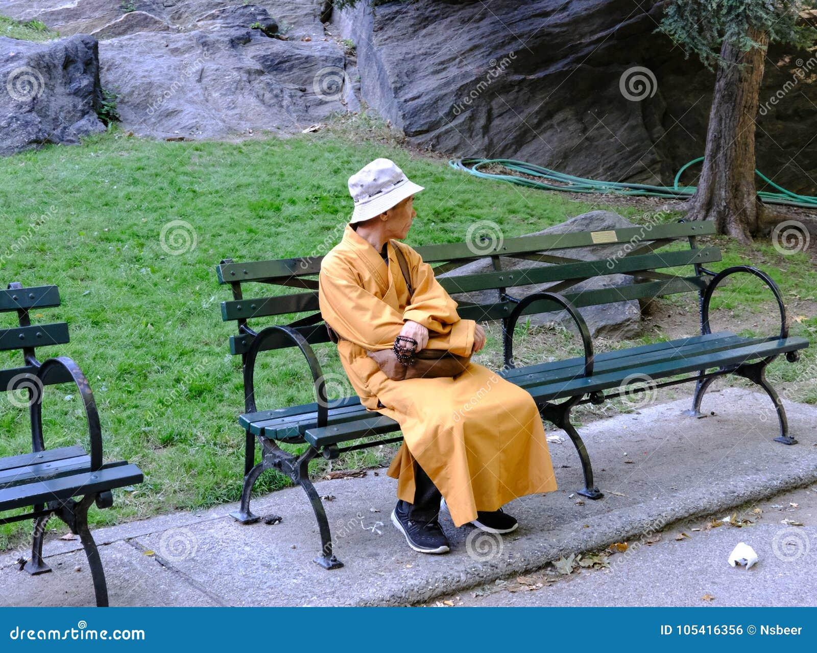 Monaco buddista visto in Central Park, New York, U.S.A.