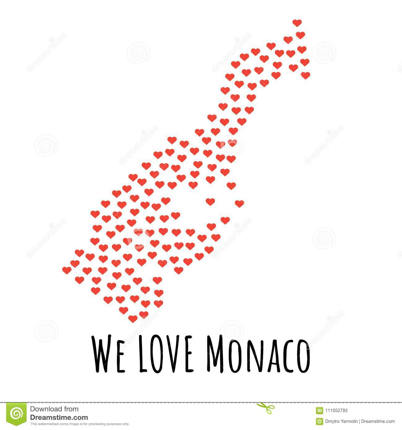 Monaco Map With Red Hearts Symbol Of Love Abstract Background