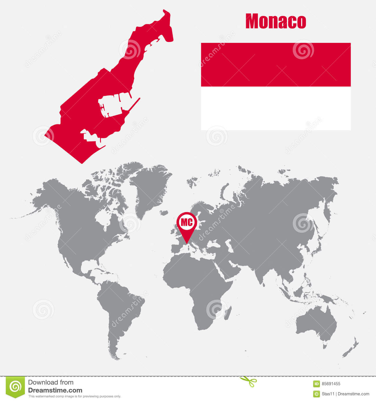 Monaco Map On A World Map With Flag And Map Pointer. Vector
