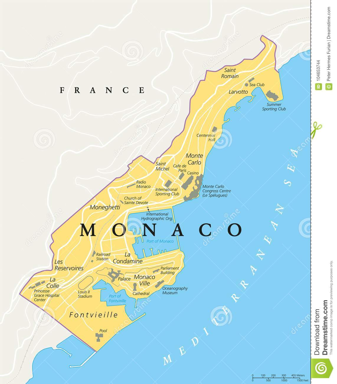 Map Of France 1500.Monaco Political Map Stock Vector Illustration Of Condamine 104653744