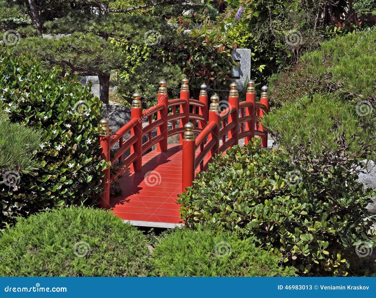 monaco red bridge in japanese garden