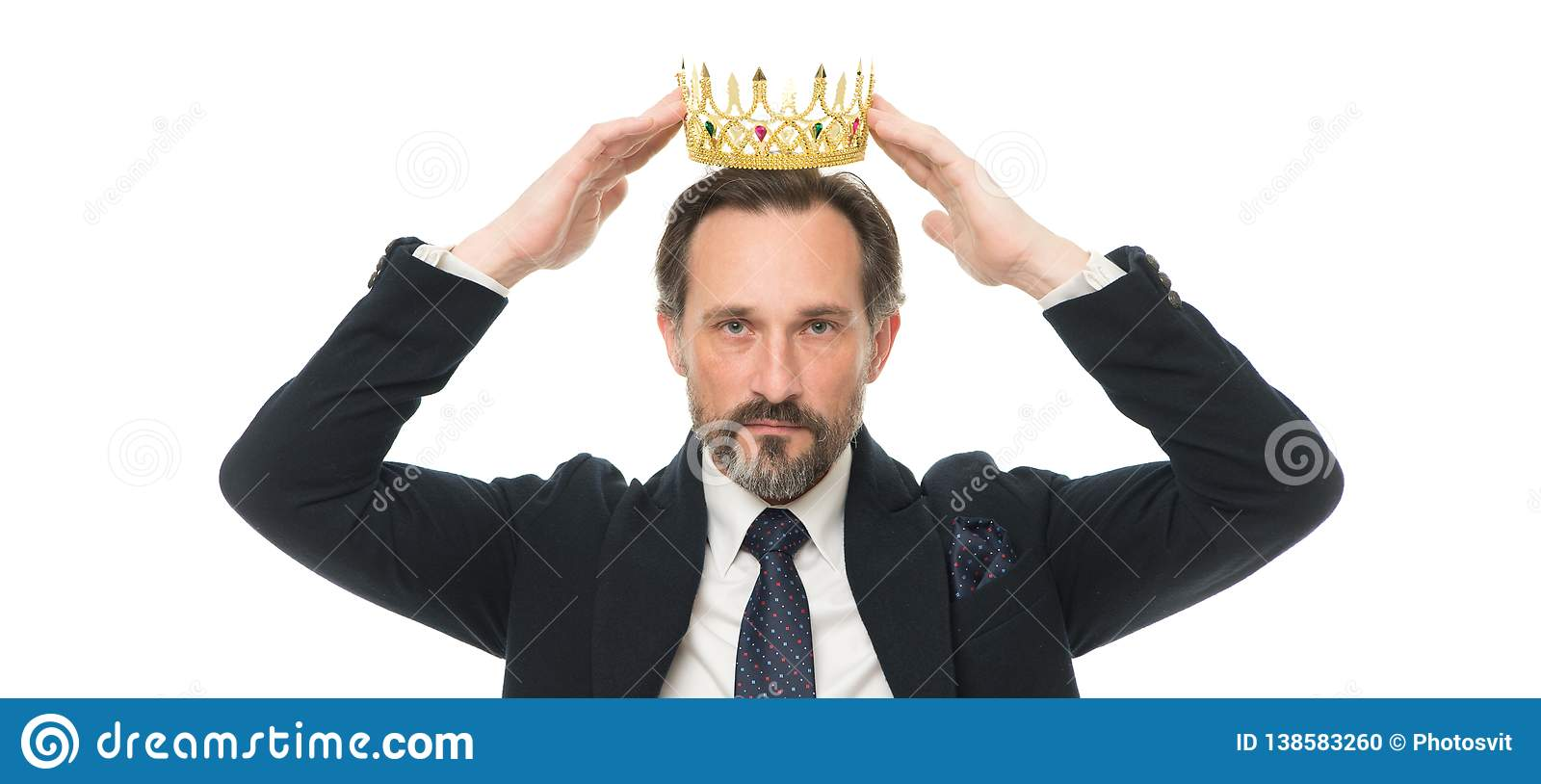 Monarchy family traditions. Man nature bearded guy in suit hold golden crown symbol of monarchy. Direct line to throne