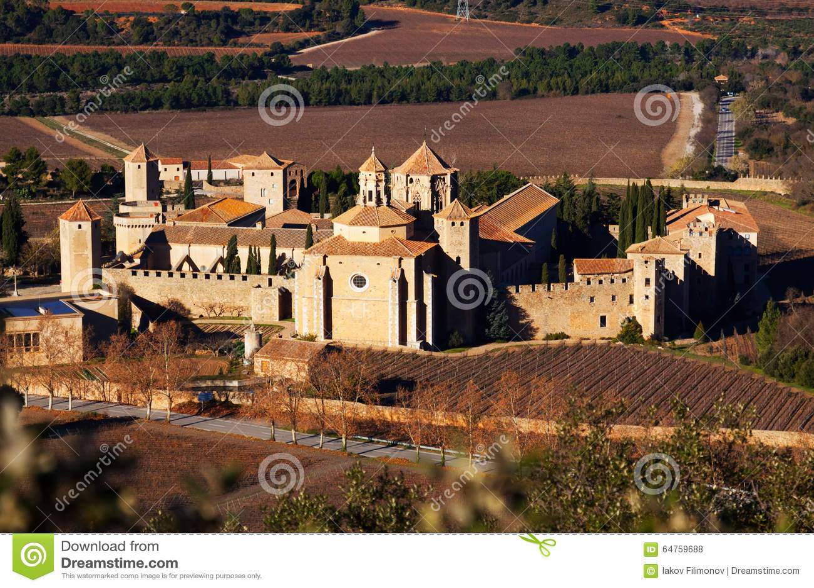 Monastère de Poblet en hiver La Catalogne, Espagne