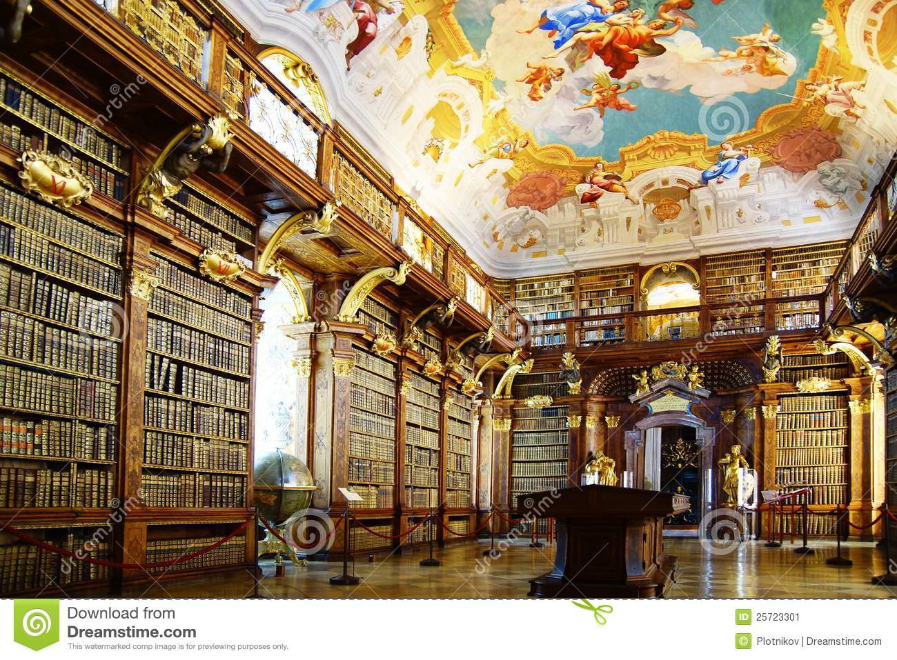 Monastery Library In Melk Abbey Stock Image Image Of