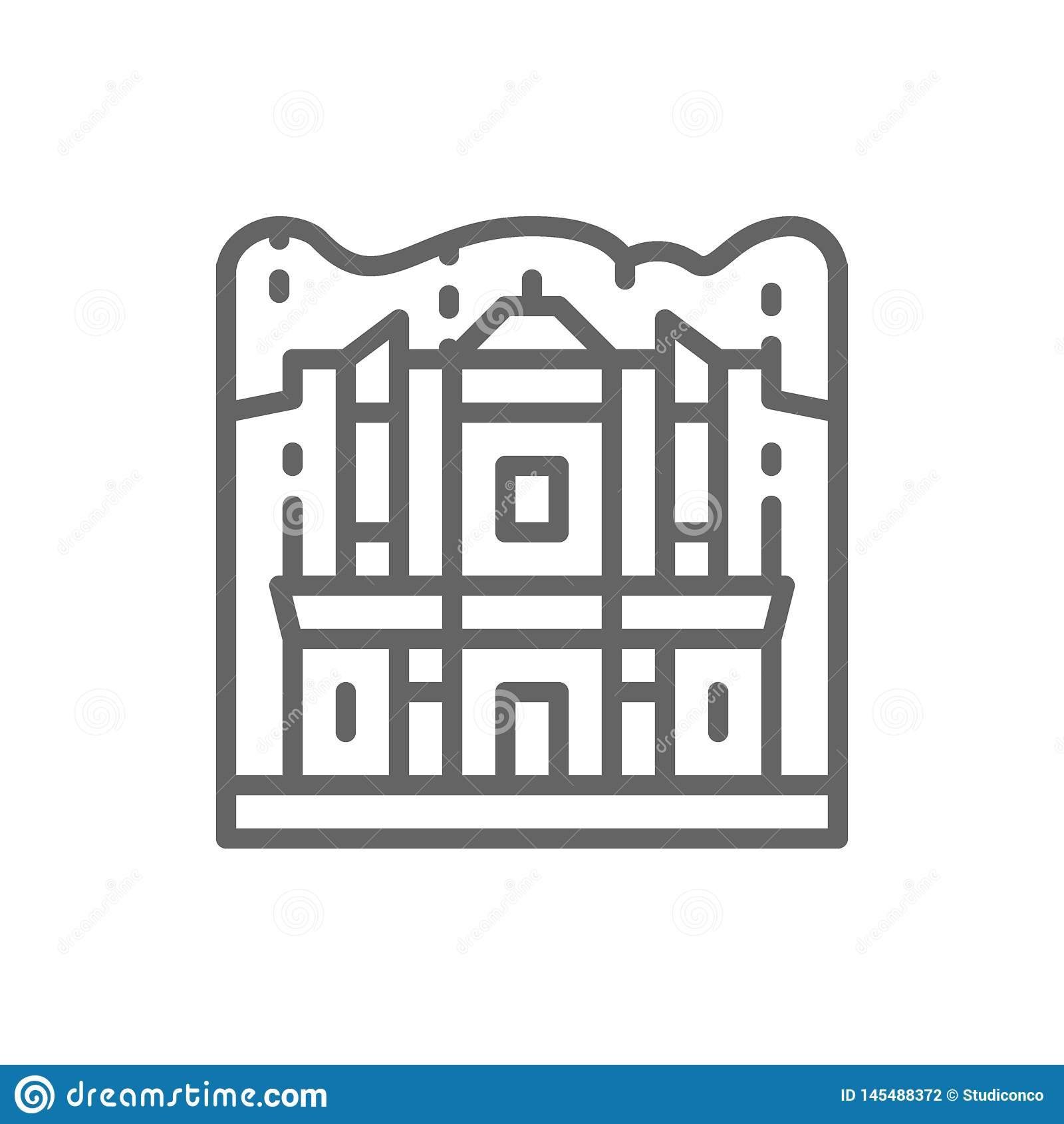 Monastery of Petra, Jordan, landmark line icon.
