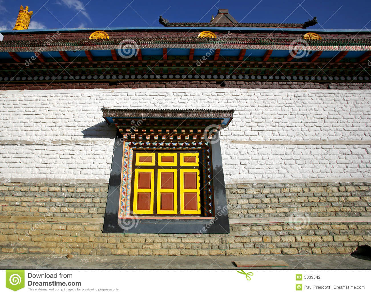 Monastery wall and window upper pisang stock photography for Window design in nepal