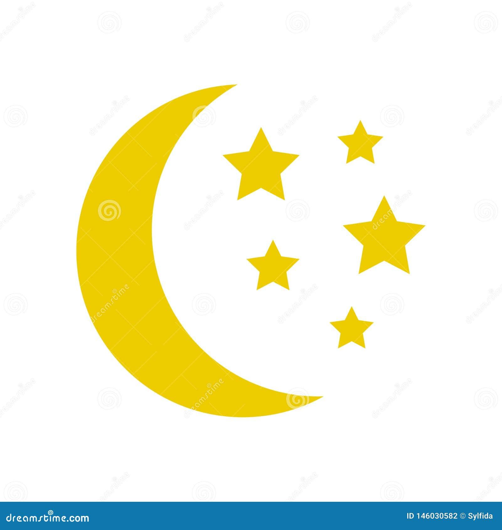 Mond und Sterne, gelbe Schlafikone Vektor