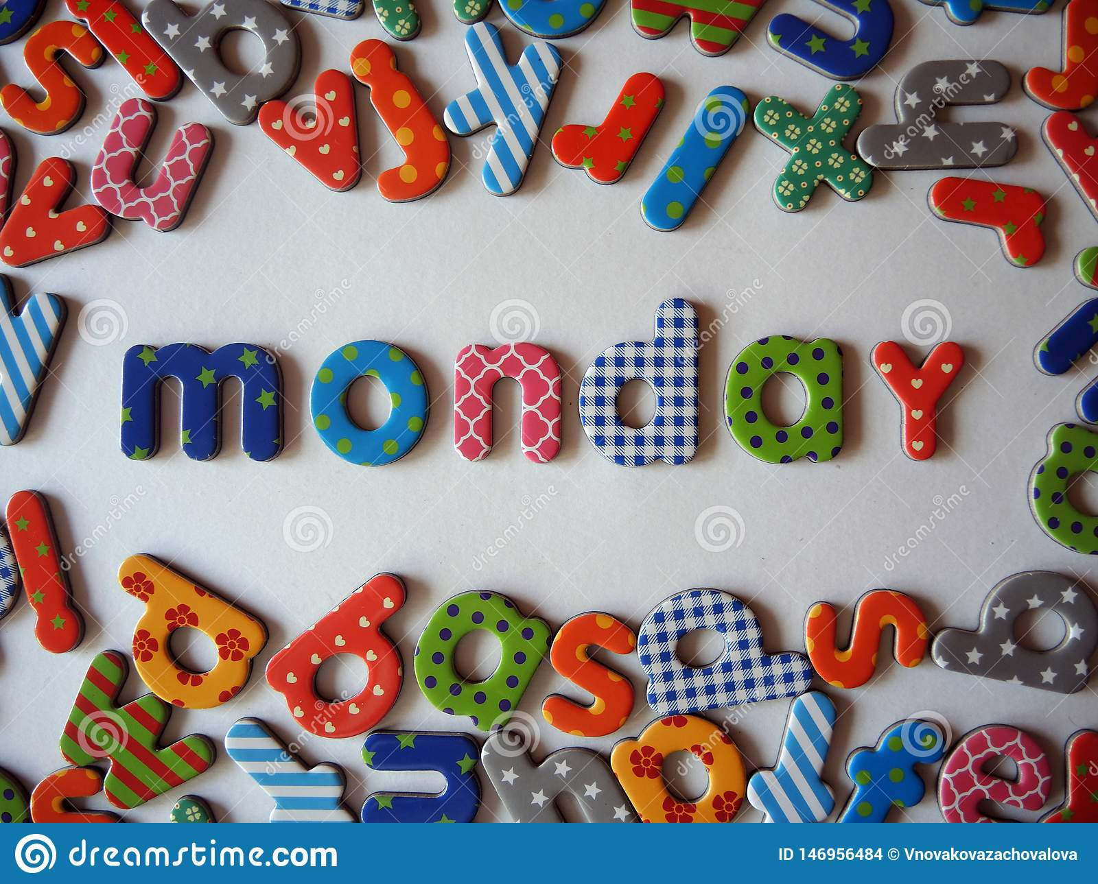 Monday banner with colorful lower case letters