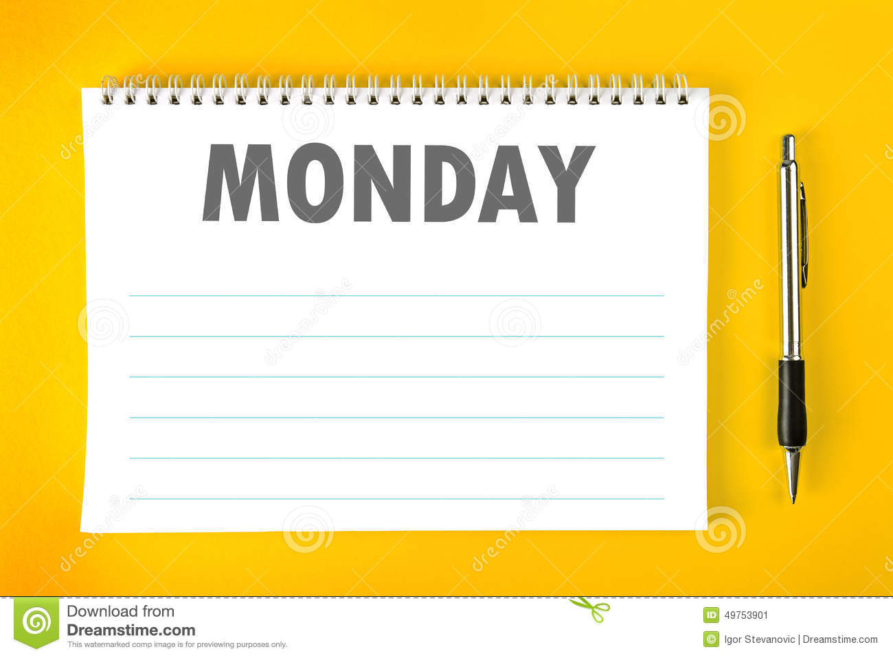 Monday Calendar Schedule Blank Page Stock Photo - Image: 49753901