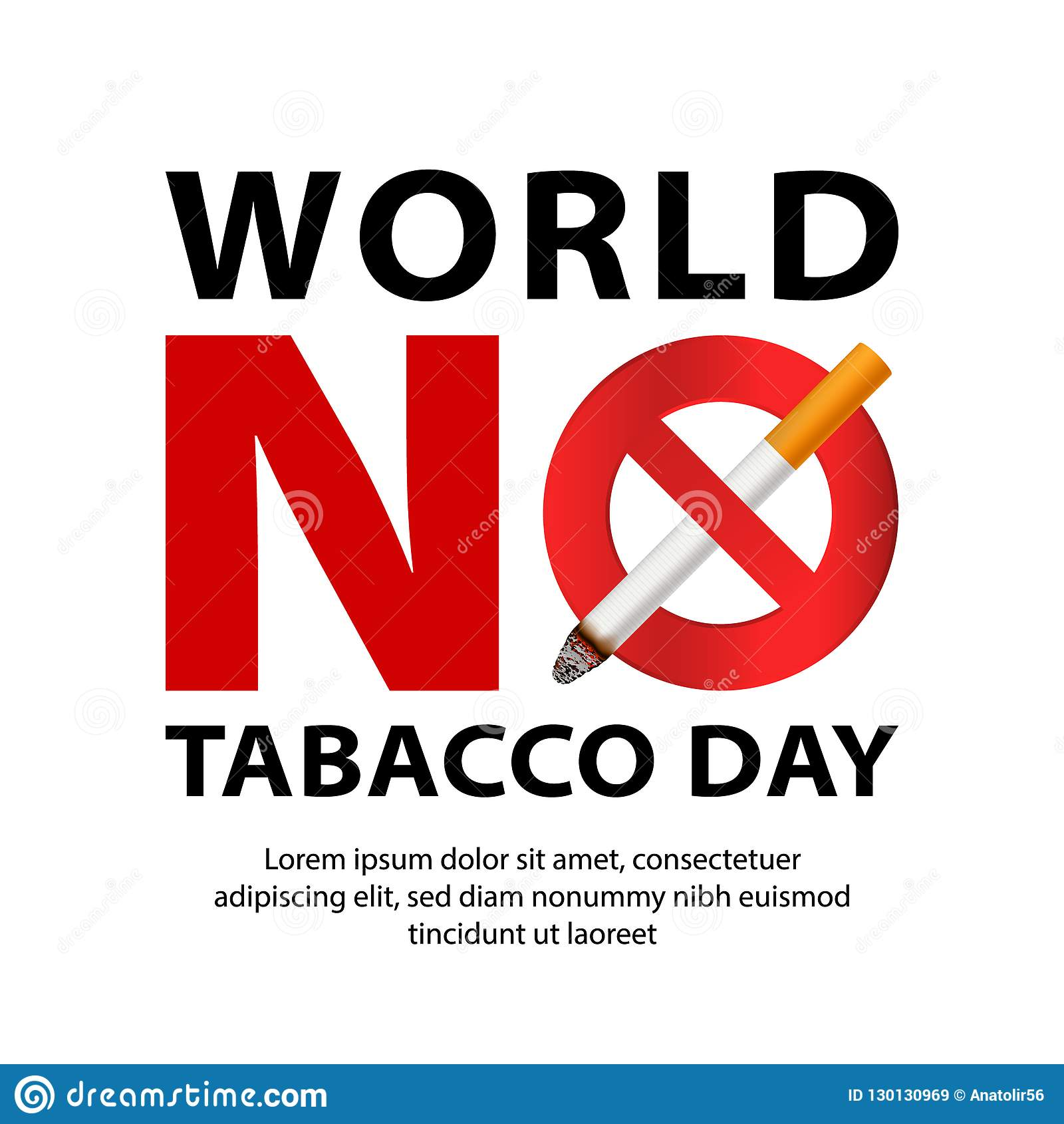 Monde aucun fond de concept de jour de tabac, style réaliste