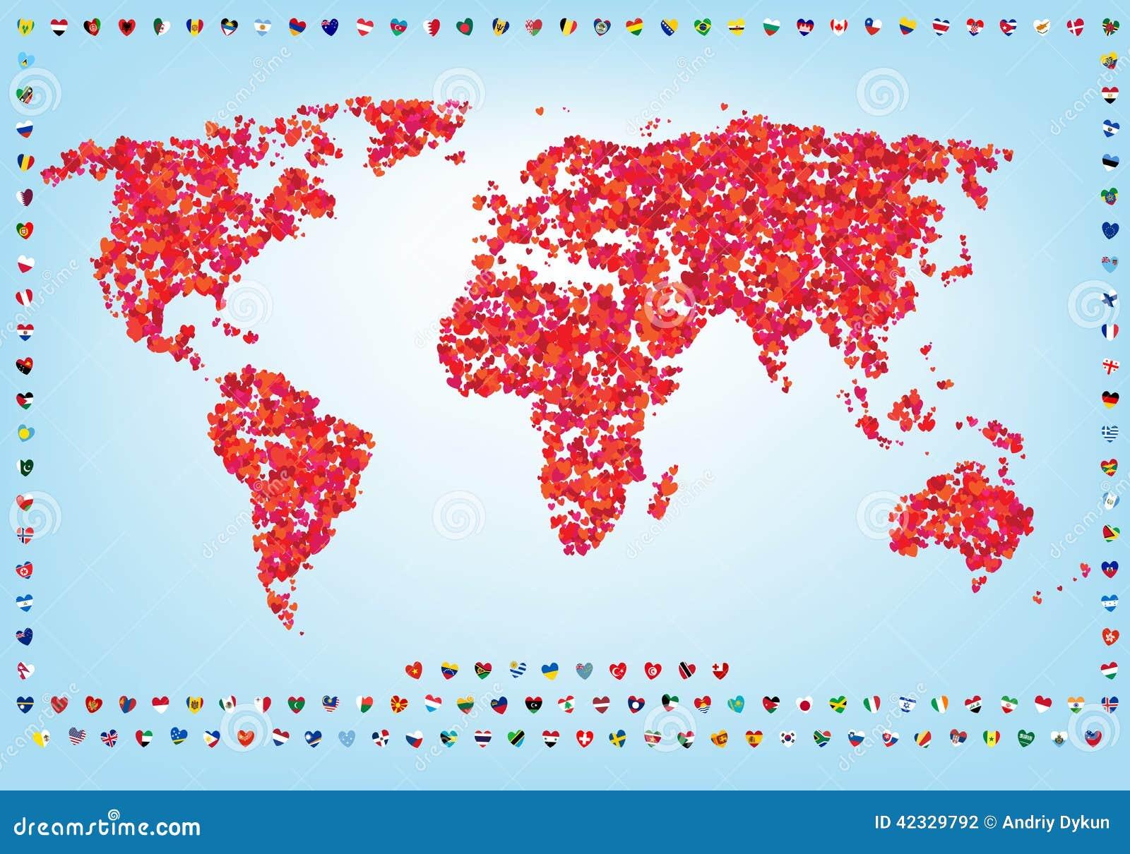 Monde de carte d 39 amour avec des drapeaux illustration de vecteur image 42329792 - Carte d amour ...
