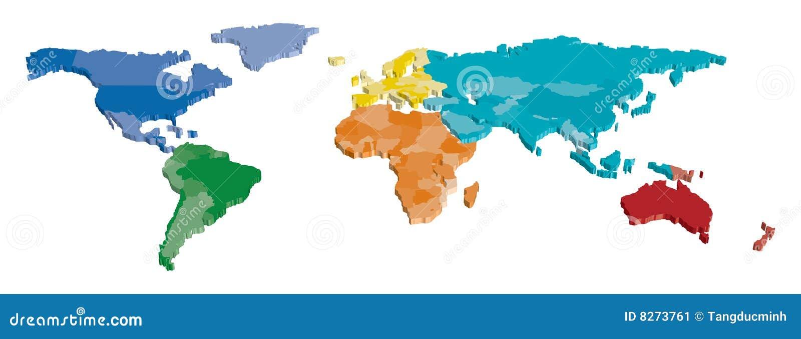 Monde de carte de pays de couleur image stock image 8273761 - Carte du monde en couleur ...