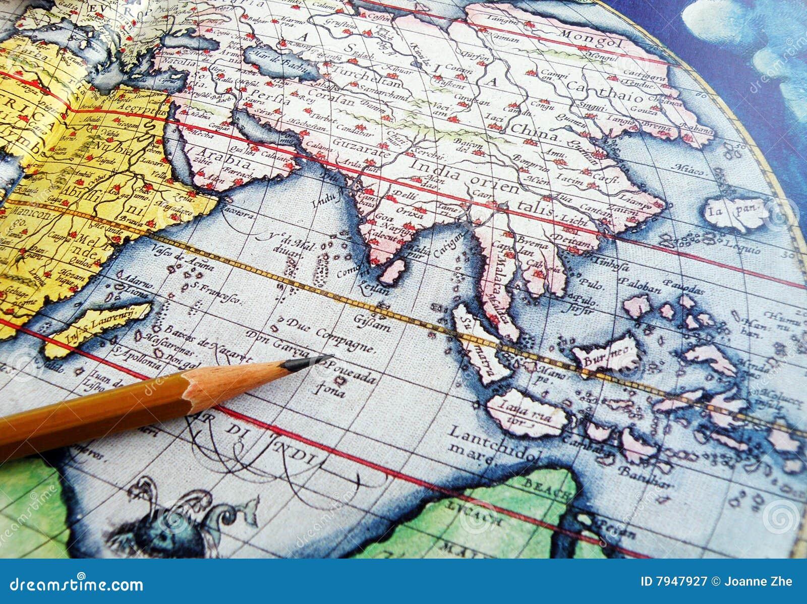 Monde de crayon de globe d antiquité