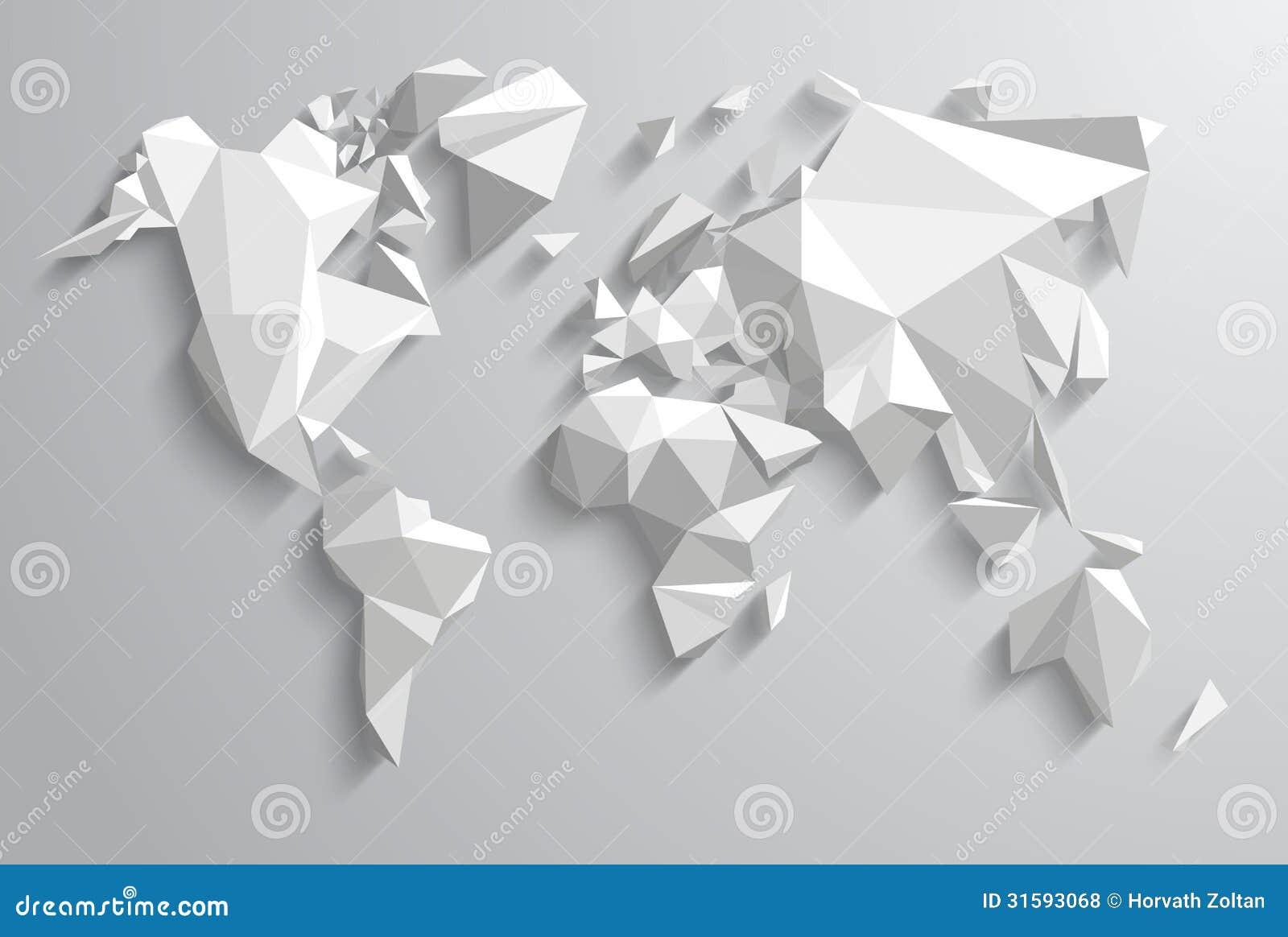 Carte Du Monde Origami.Monde De Triangle Illustration De Vecteur Illustration Du Propre