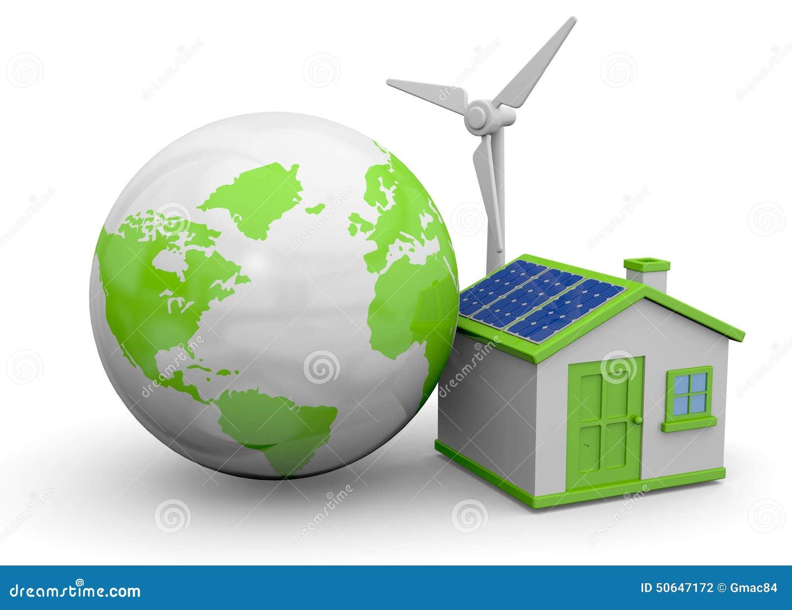 Monde et nergies renouvelables 3d illustration stock for Maison a energie renouvelable