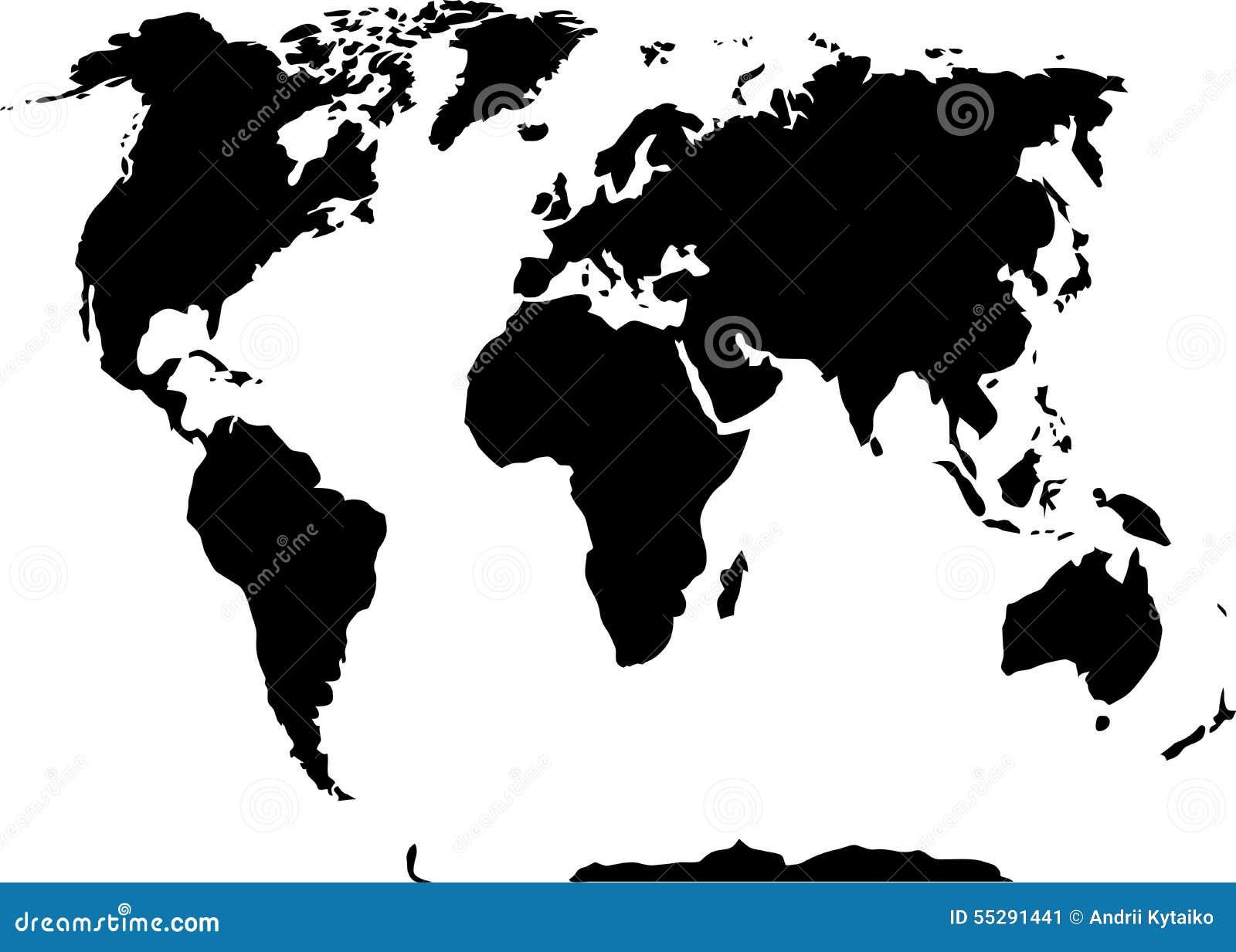 monde noir de blanc de carte illustration de vecteur illustration du continent nation 55291441. Black Bedroom Furniture Sets. Home Design Ideas