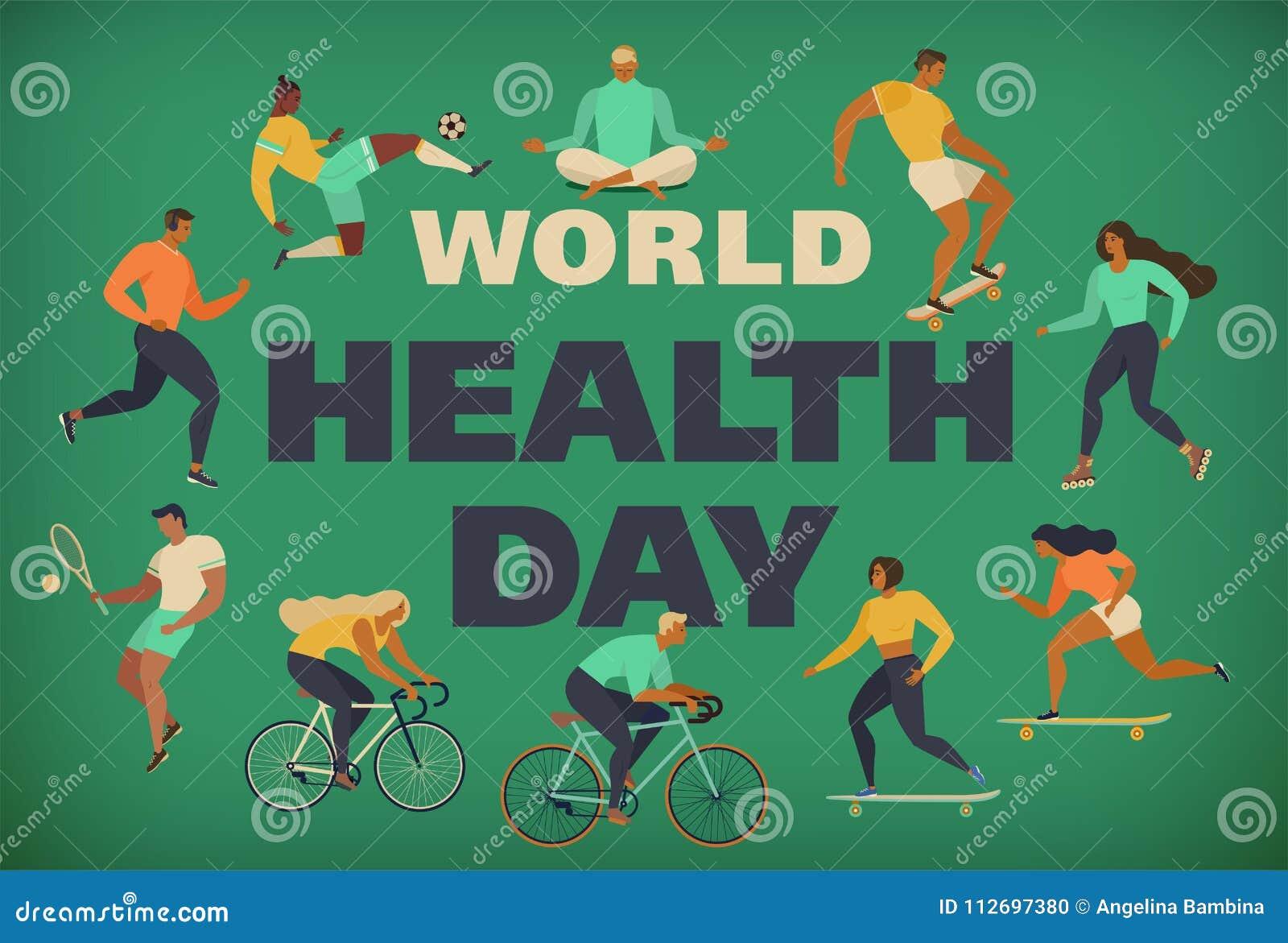 Monde santé jour 7 avril avec l image des médecins vecteur prêt d image d illustrations de téléchargement Les jeunes actifs Style