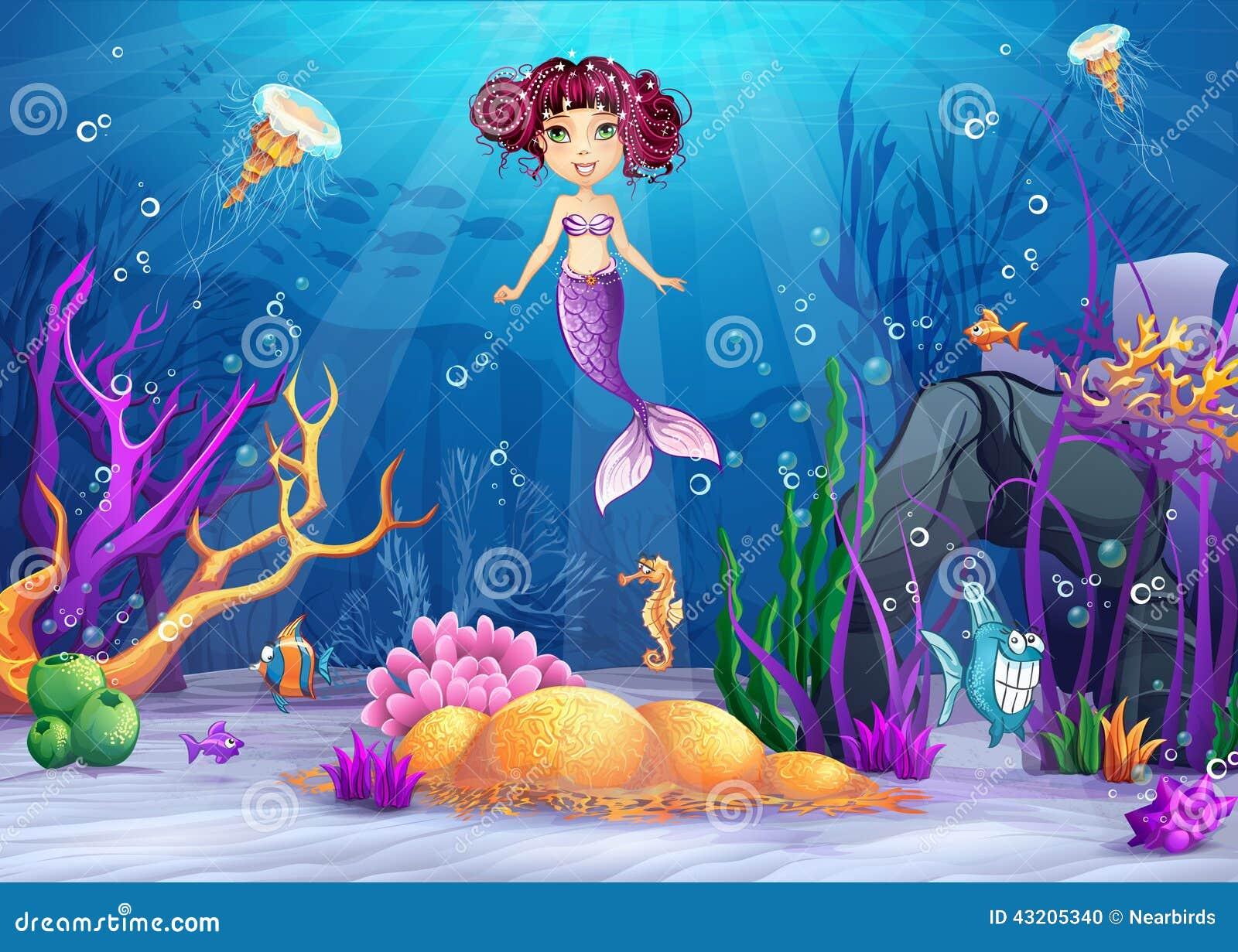 Monde sous-marin avec une sirène avec les cheveux roses