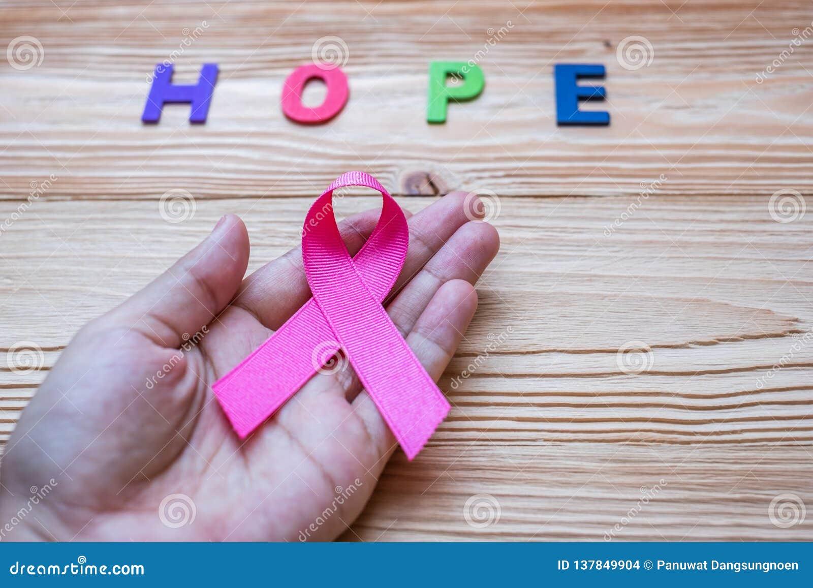 Mondo cancro giorno 4 febbraio o cancro al seno, lettera di speranza e nastro rosa su fondo di legno per la gente sostenente vive