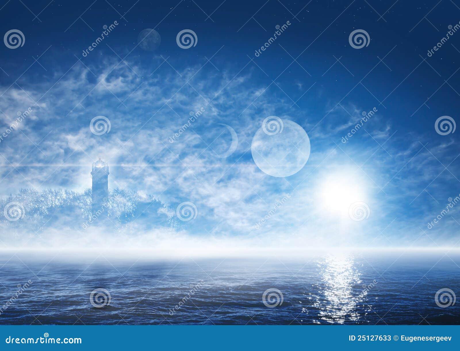 Mondo di fantasia con l oceano nebbioso, faro spettrale
