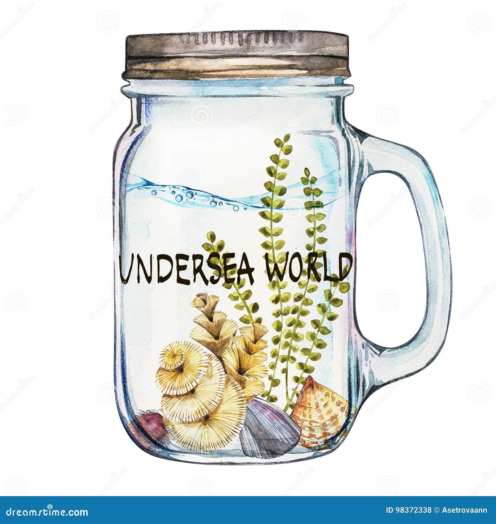 Mondo Parola-subacqueo Chiavetta di Isoleted con Marine Life Landscape - l oceano ed il mondo subacqueo con differente
