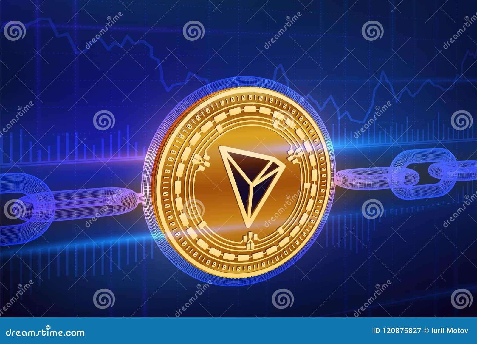 Moneda Crypto Cadena de bloque tron moneda de oro física isométrica de 3D Tron con la cadena del wireframe Concepto de Blockchain
