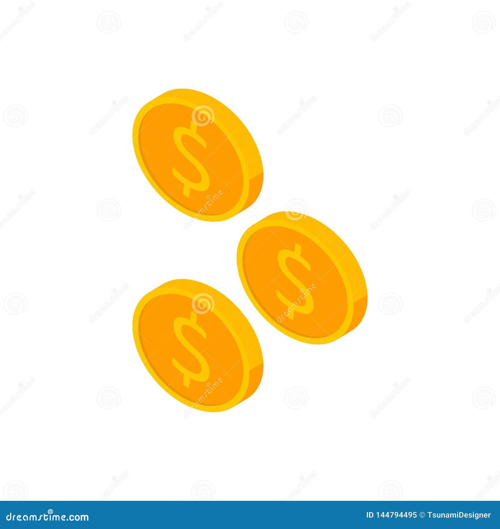 Moneda, dólar, isométrico, pila de dinero, finanzas, negocio, vector, icono plano