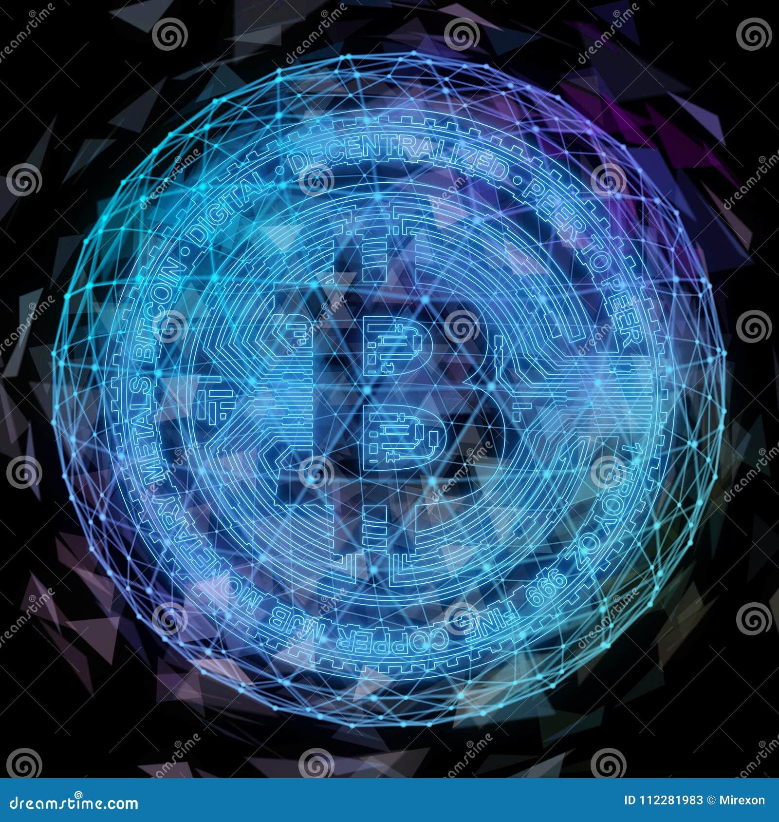 Moneda de Bitcoin en fuego con la carta común comercial del toro Concepto duro de la bifurcación del blockchain del relámpago del