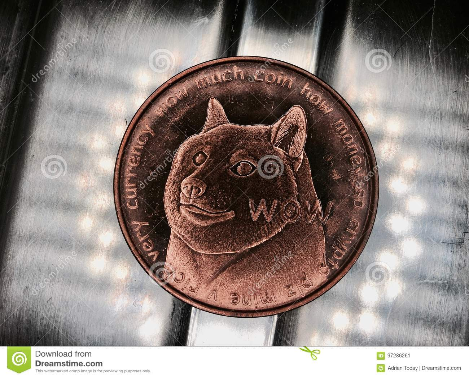 Moneda de cobre amarillo del dogecoin