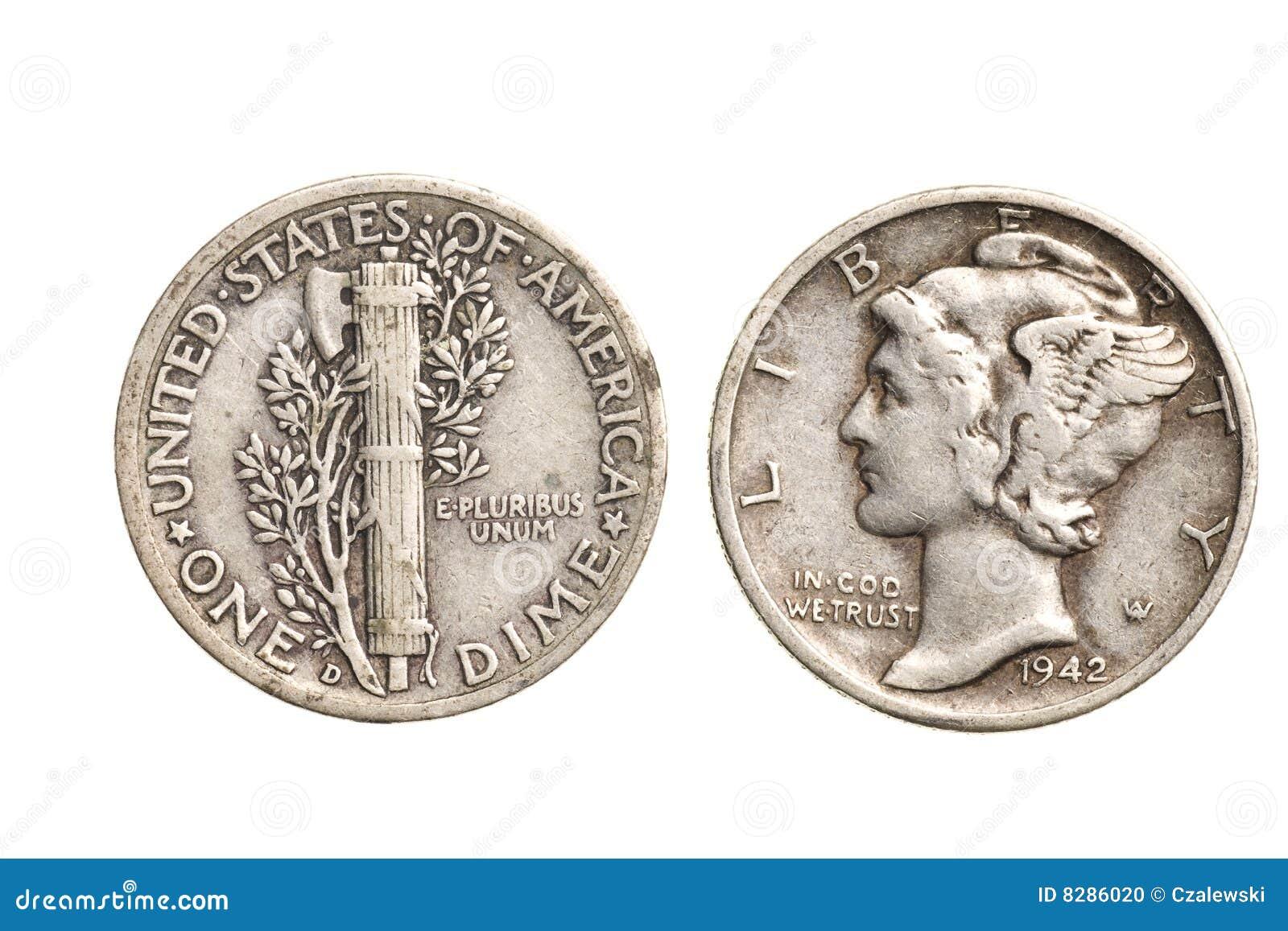 moneda de diez centavos de plata antigua aislada foto de