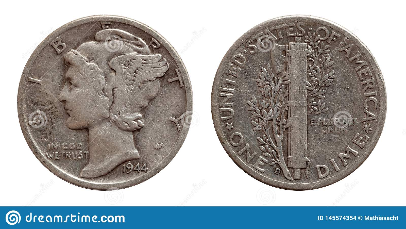 Moneda de diez centavos plata de moneda de los diez E.E.U.U. de los centavos ambos lados aislados en blanco