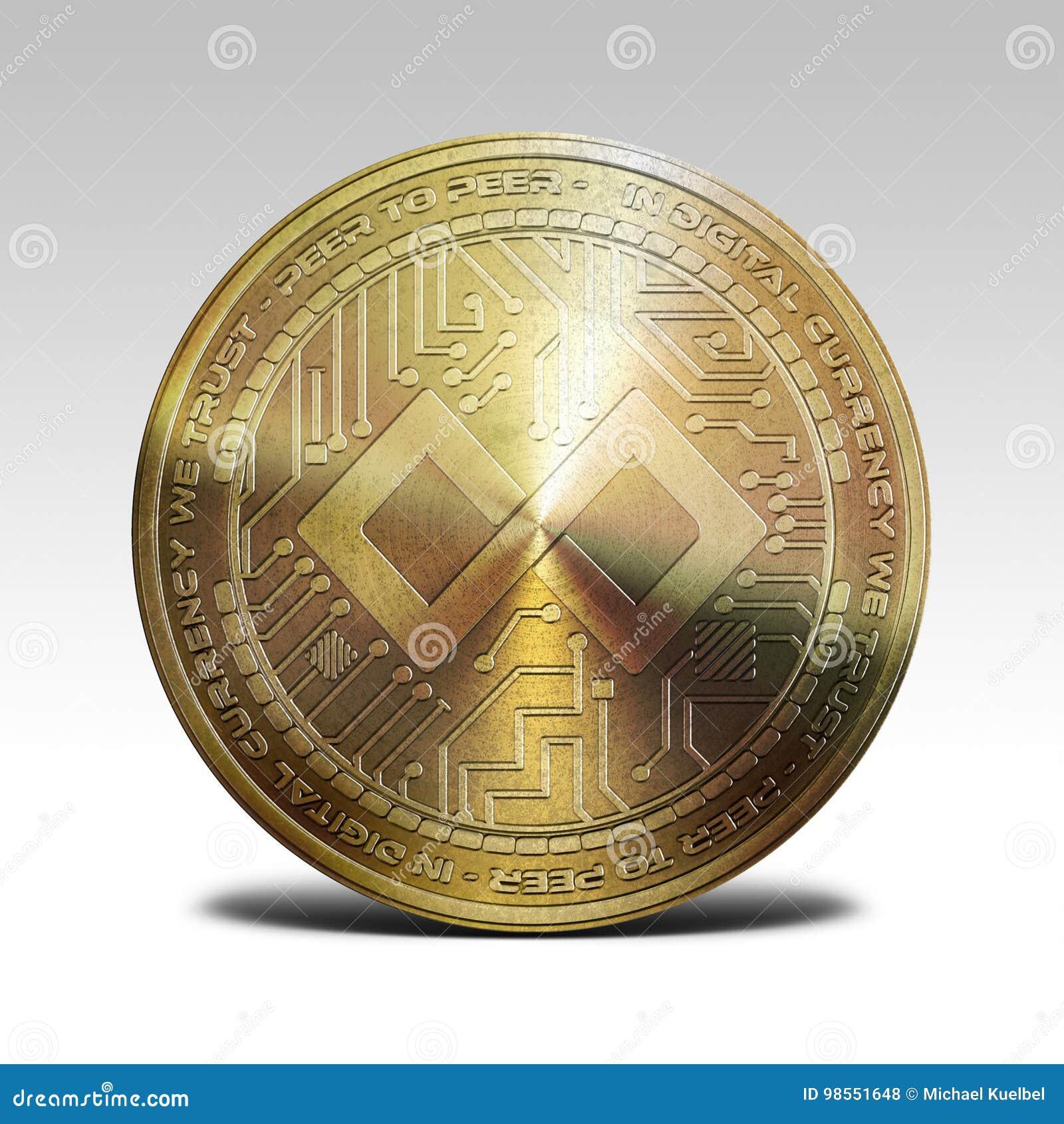 Moneda de la paga del tenx del oro aislada en la representación blanca del fondo 3d