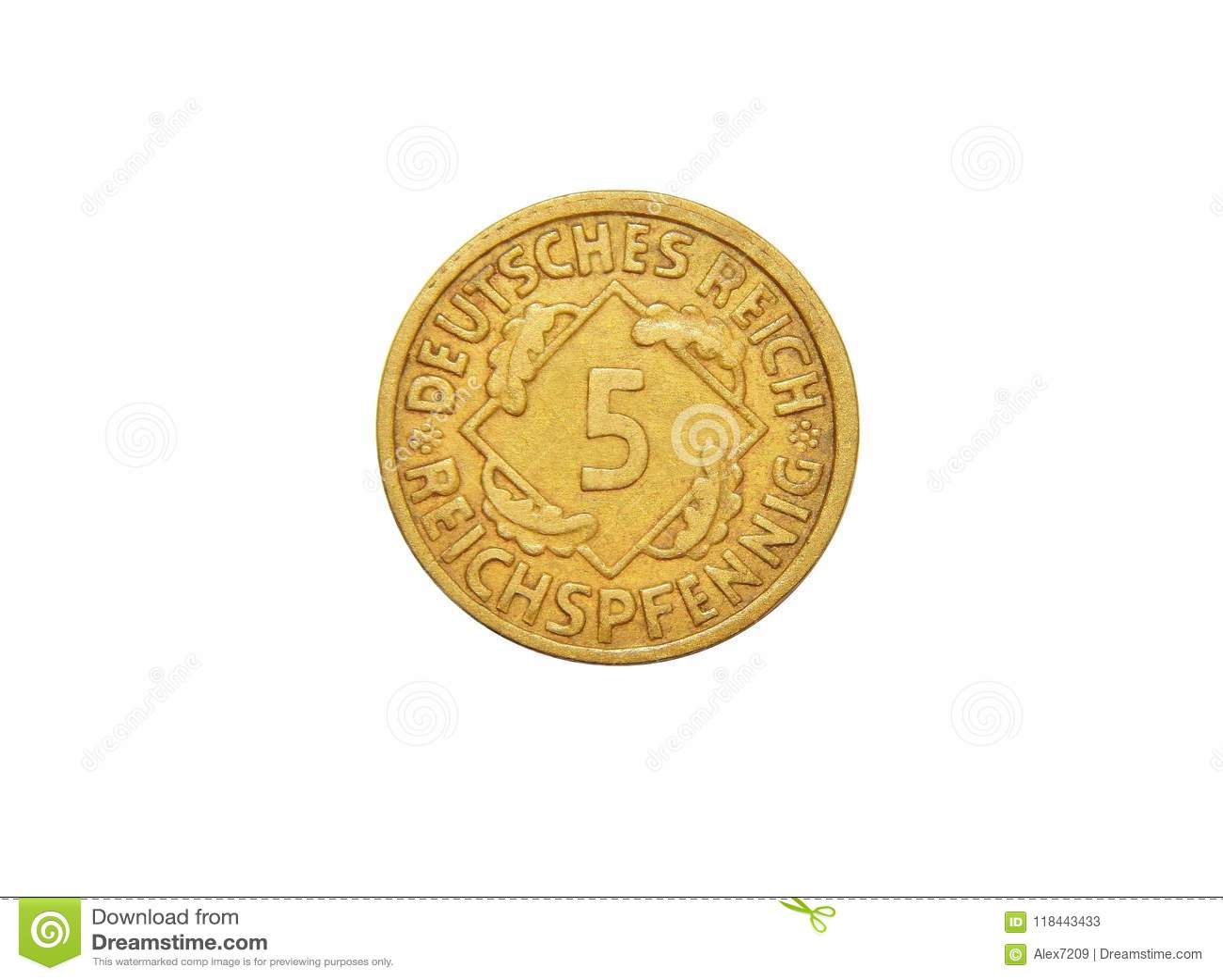 Moneda de la república de Alemania 5 Reichspfennig Weimar
