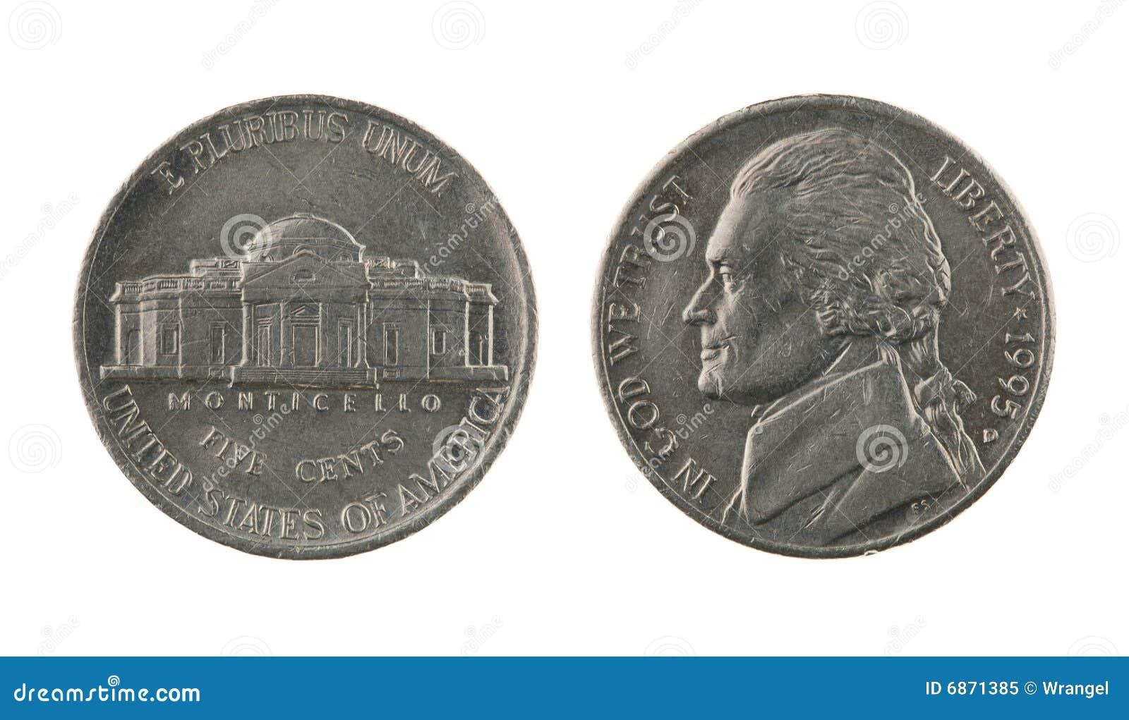 Moneda de níquel de los E.E.U.U. uno aislada en blanco