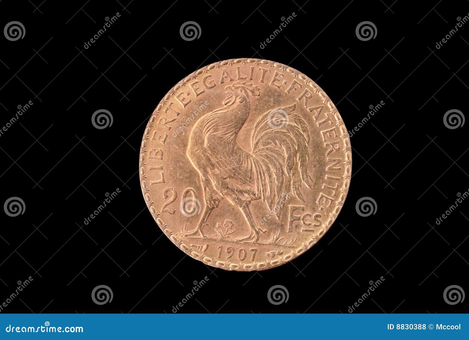 Moneda de oro antigua francesa. 20 francos. 1907. Revés