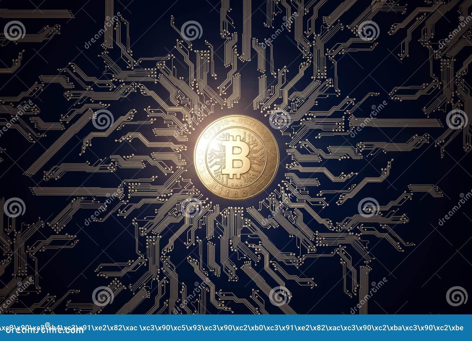 Moneda de oro Bitcoin en un fondo negro El concepto de moneda crypto Tecnología de Blockchain