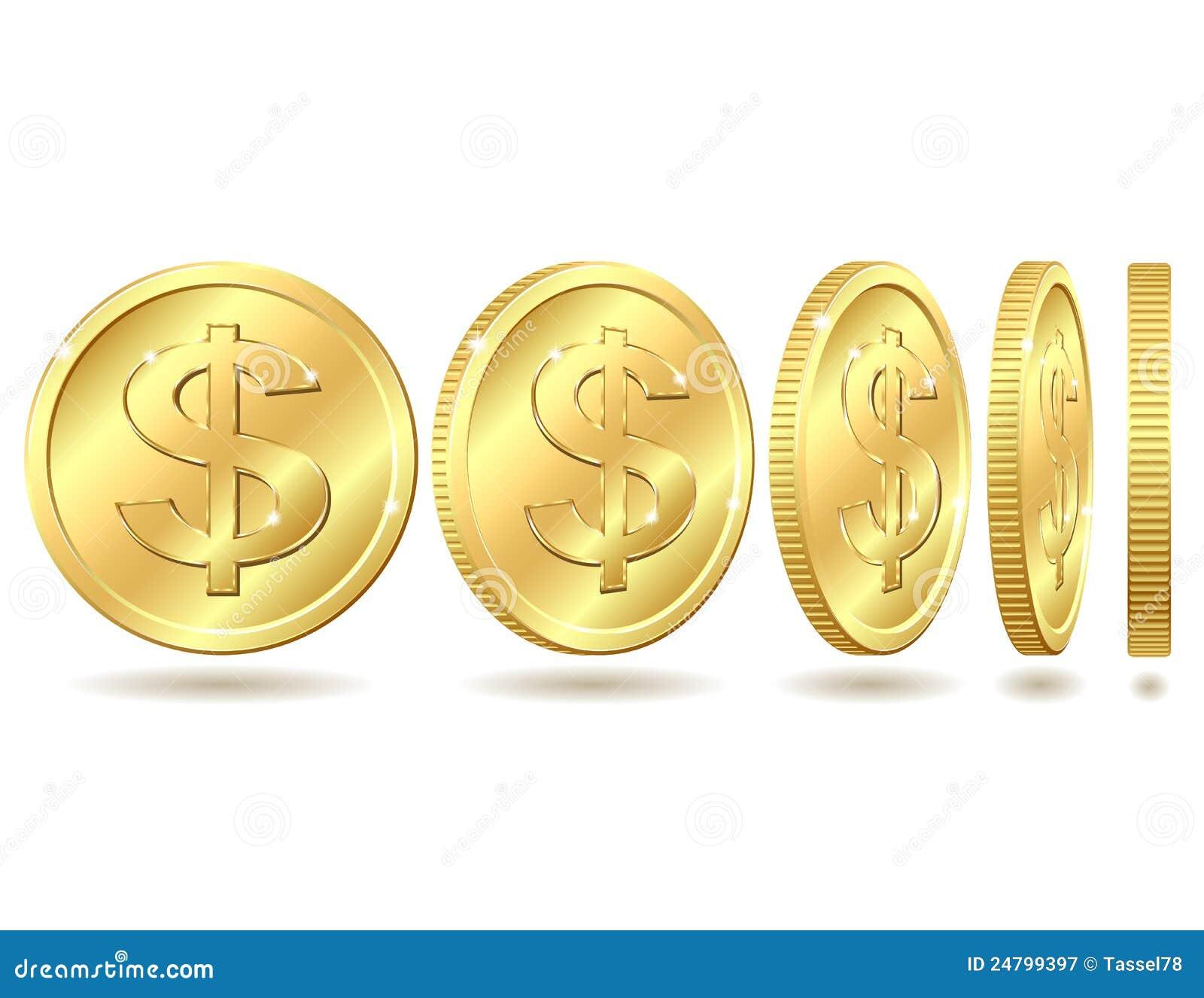 Moneda de oro con la muestra de dólar