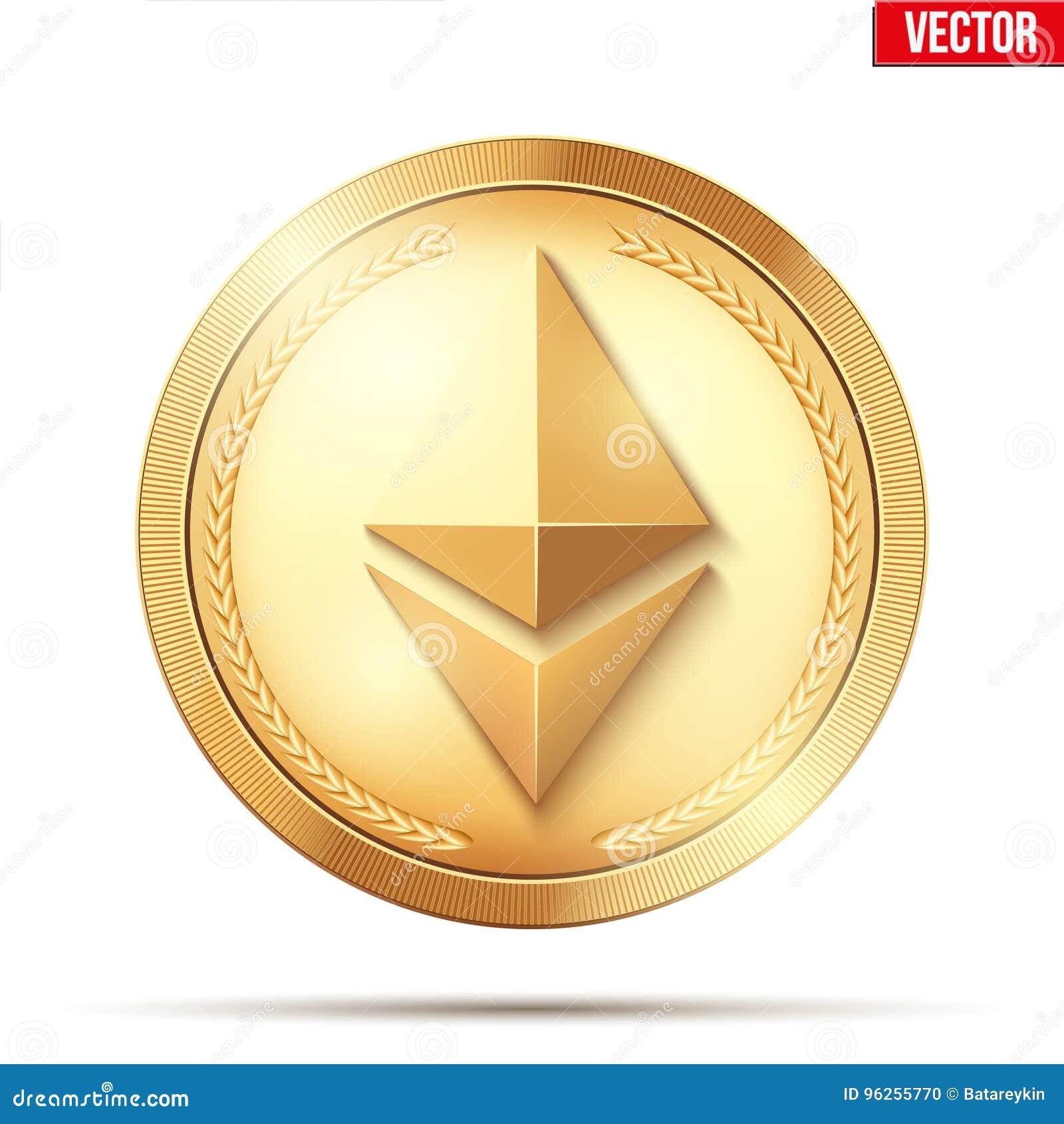 Moneda de oro con la muestra de Ethereum