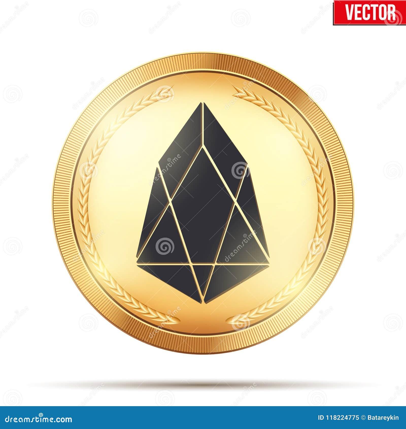 Moneda de oro con la muestra del cryptocurrency del FOE