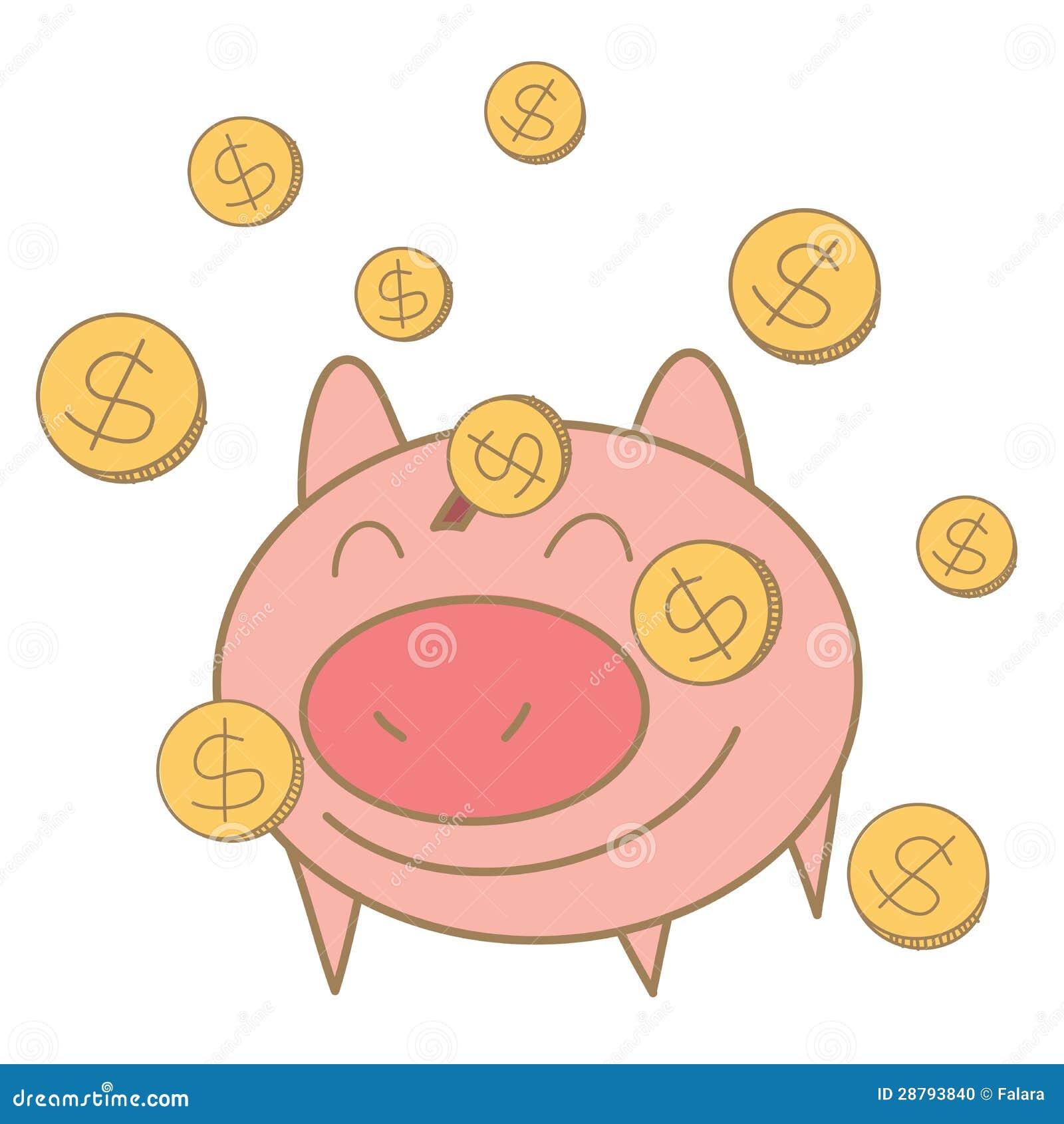 Moneda del dinero que cae en el rectángulo de dinero del cerdo