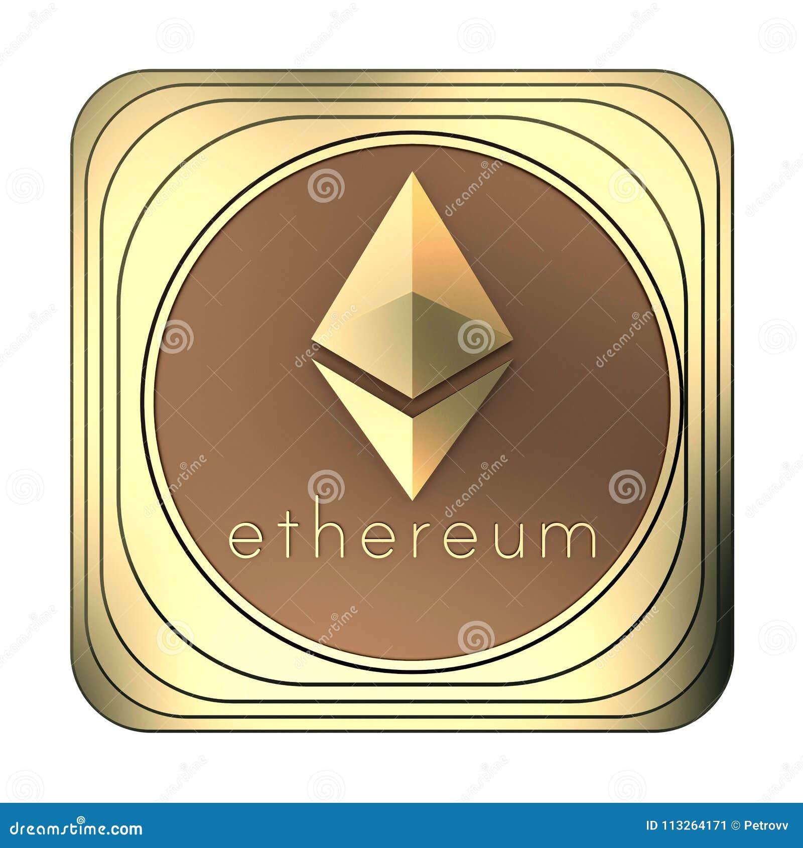 Moneda del ethereum del icono del oro aislada en blanco