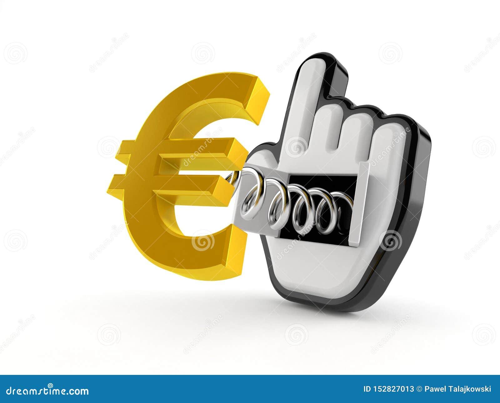 Moneda euro con el cursor de la web