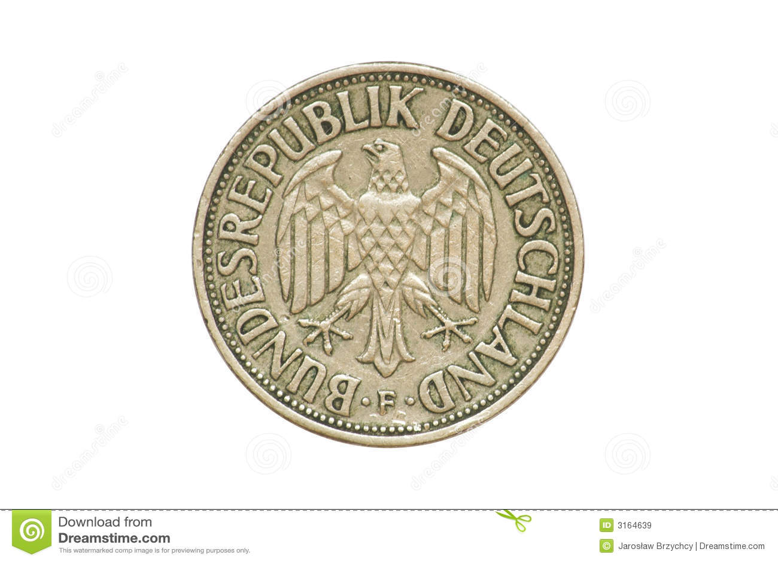Moneda Vieja 1950 Un Marco Alemán Imagen de archivo - Imagen de ...