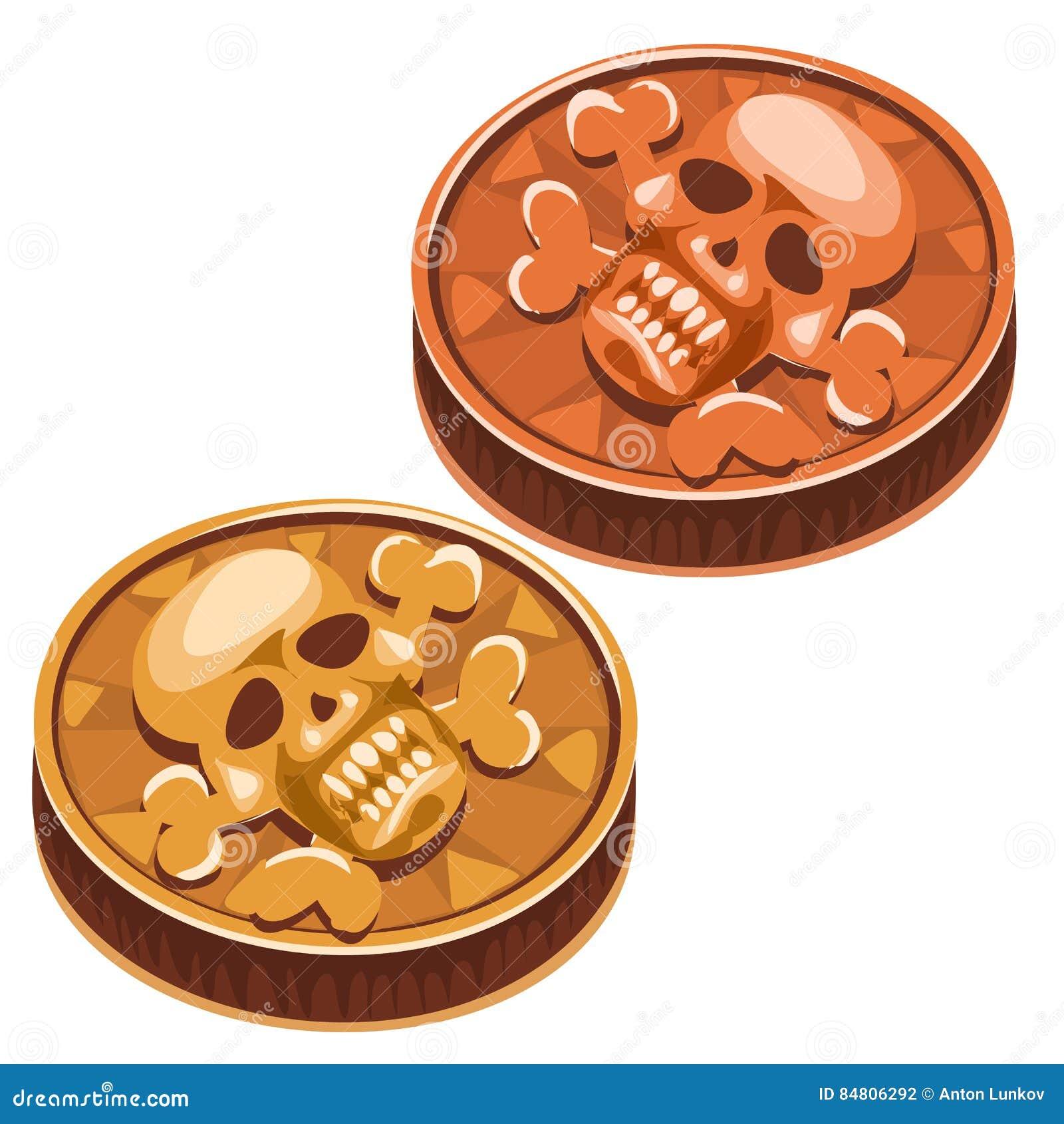 Moneda vieja del pirata con el cráneo y la bandera pirata Vector
