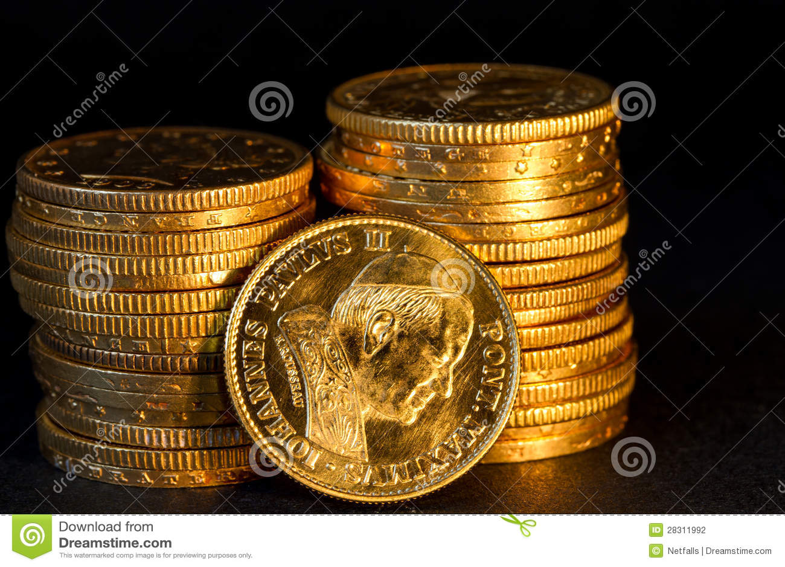 Monedas de oro de Vatican.