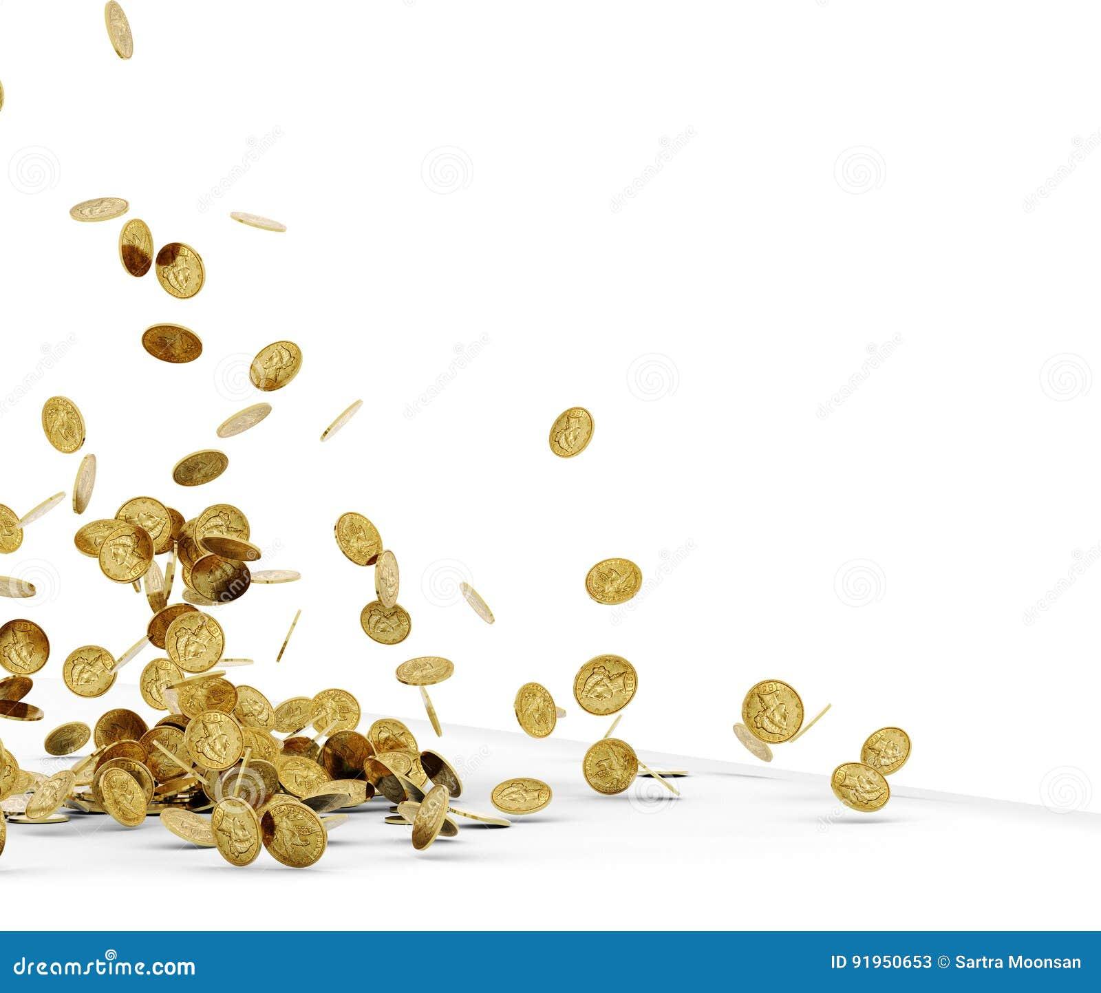 Monedas de oro que caen aisladas